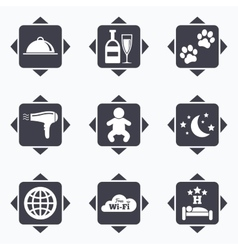 Hotel apartment service icons restaurant sign vector