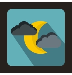 Moon and clouds icon flat style vector