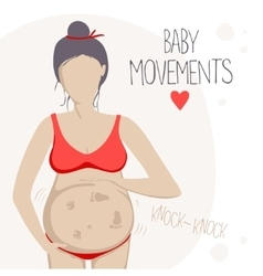 Pregnant woman feels the baby moving inside vector image