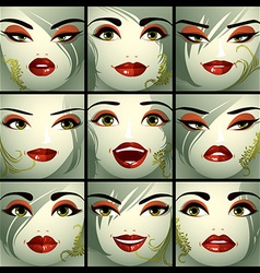 Attractive ladies portraits collection girls with vector