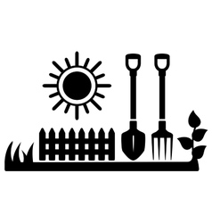 black icon with sun and gardening tools vector image vector image