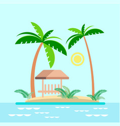 Bungalows under palm trees on the island vector