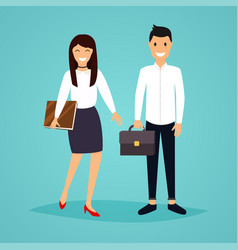 Business man and woman in flat design the vector