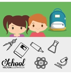 Cartoon pupil students bag utensils school banner vector