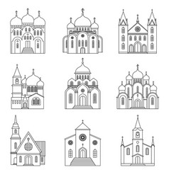 church linear icons on white background vector image