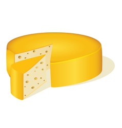 circle cut off a piece of cheese vector image vector image