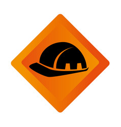 Color square road sign with helmet icon vector