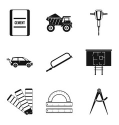 computation icons set simple style vector image