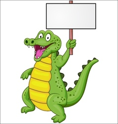 Crocodile cartoon with blank sign vector image