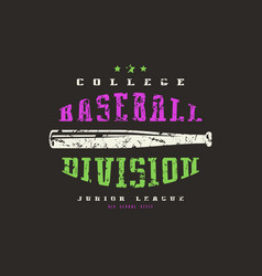 emblem baseball division vector image vector image