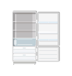 empty refrigerator with opened door shelves and vector image
