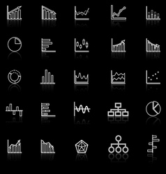 Graph line icons with reflect on black background vector image vector image
