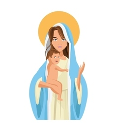 holy mary holding baby jesus icon vector image vector image