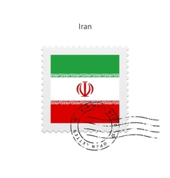 Iran flag postage stamp vector