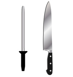 Knife and sharpener vector image vector image