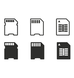 Memory card icon set vector image