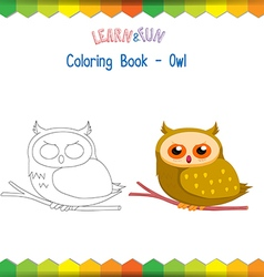 Owl coloring book educational game vector image vector image