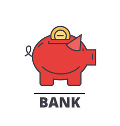piggy bank cash investment banking concept vector image