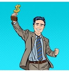 Pop Art Businessman with Golden Winners Cup vector image