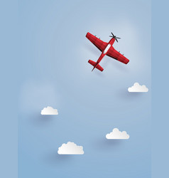 Red plane flying on the skythe do the same vector