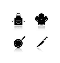 Restaurant kitchen cooking equipment drop shadow vector