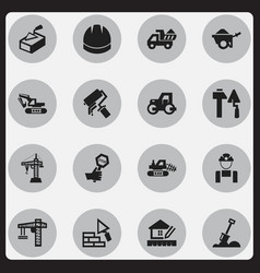 set of 16 editable construction icons includes vector image