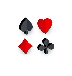 set of 3d playing card suit signs vector image