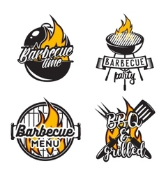 Set of barbecue labels Creative vector image vector image