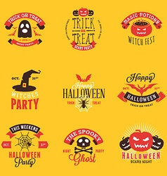 Set of Happy Halloween Badges Stickers Labels vector image vector image