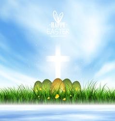 Spring Landscape Easter Eggs vector image vector image