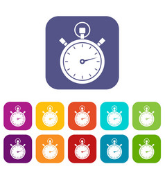 stopwatch icons set vector image