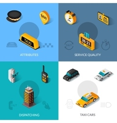 Taxi isometric 4 flat icons square vector