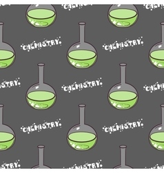 Test-tubes seamless pattern green vector