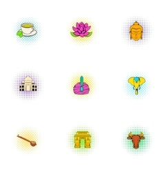 Tourism in India icons set pop-art style vector image vector image