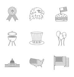 Usa independence day icon set outline style vector