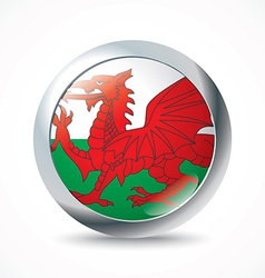 Wales flag button vector image vector image