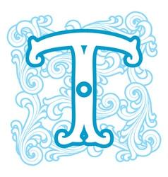 winter vintage letter T vector image vector image
