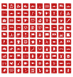 100 geography icons set grunge red vector
