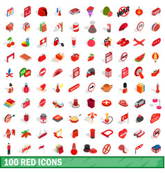 100 red icons set isometric 3d style vector image