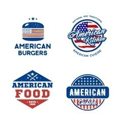 Set of retro logos american cuisine concept vector image