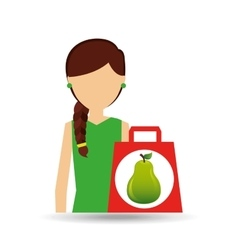 Character shopper pear fruit vector