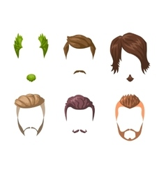 Beards mustaches and hairstyles set vector
