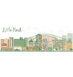 Abstract little rock skyline with color buildings vector