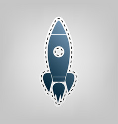 Rocket sign   blue icon with vector