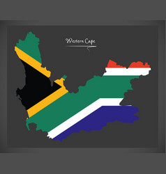 Western cape south africa map with national flag vector