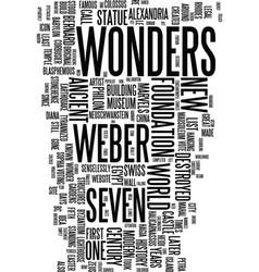 Modern wonders text background word cloud concept vector