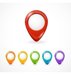 Glossy map pointer set icon pin vector