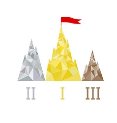 Podium in the form of mountain peaks triangular vector