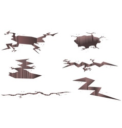 Set of cartoon cracks vector