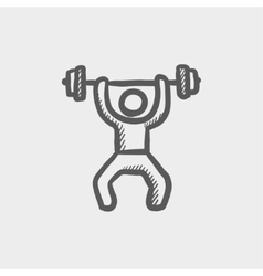 Weightlifter man with barbell sketch icon vector